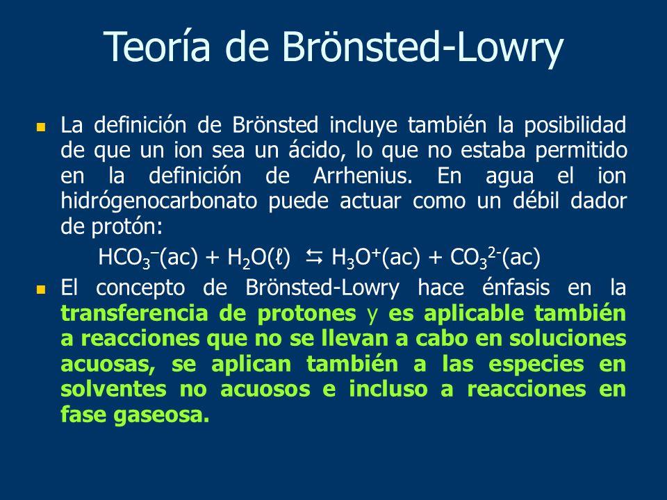 La definición de Brönsted incluye también la posibilidad de que un ion sea un ácido, lo que no estaba permitido en la definición de Arrhenius. En agua