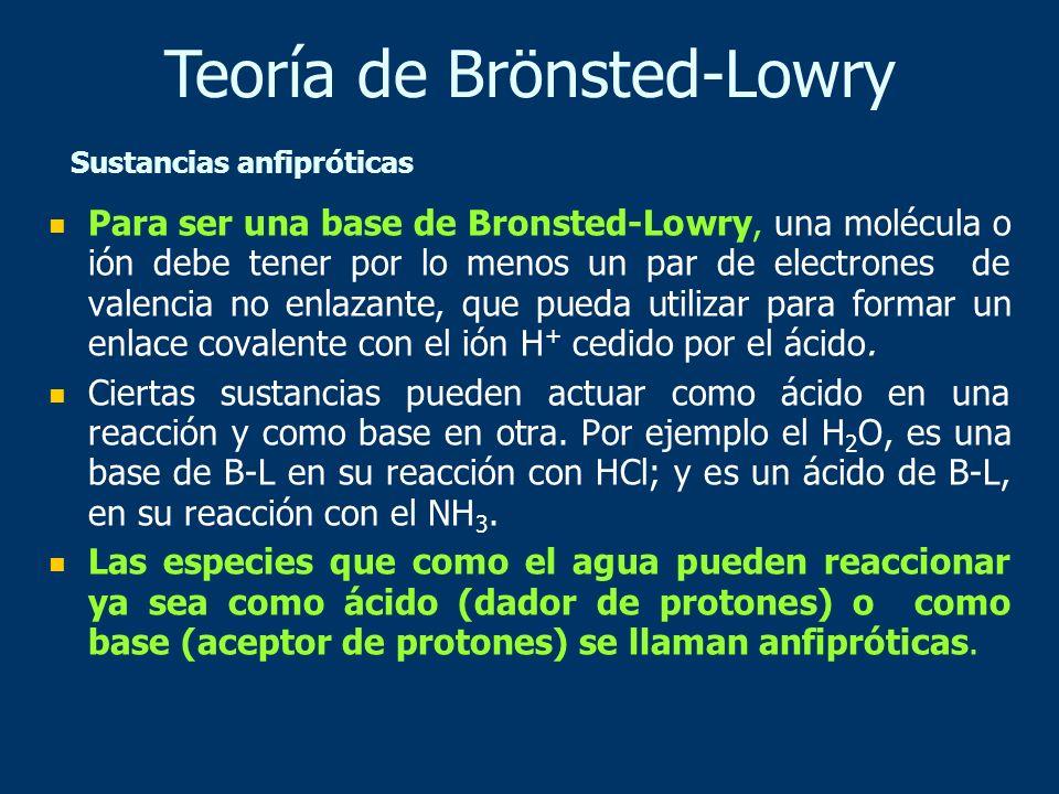 Para ser una base de Bronsted-Lowry, una molécula o ión debe tener por lo menos un par de electrones de valencia no enlazante, que pueda utilizar para