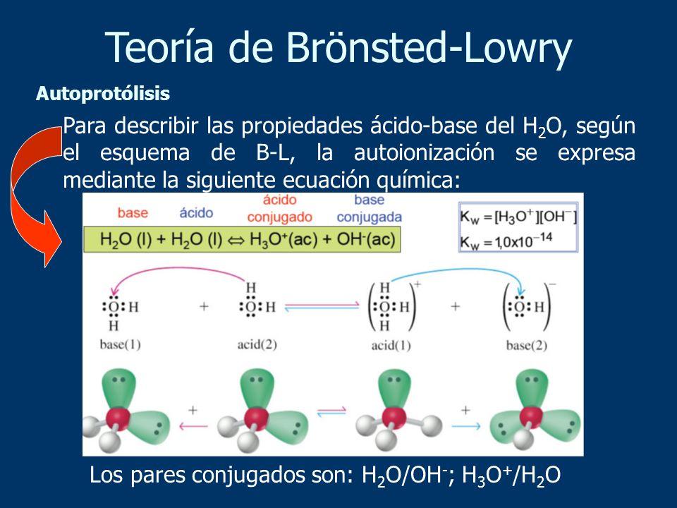 Para describir las propiedades ácido-base del H 2 O, según el esquema de B-L, la autoionización se expresa mediante la siguiente ecuación química: Los