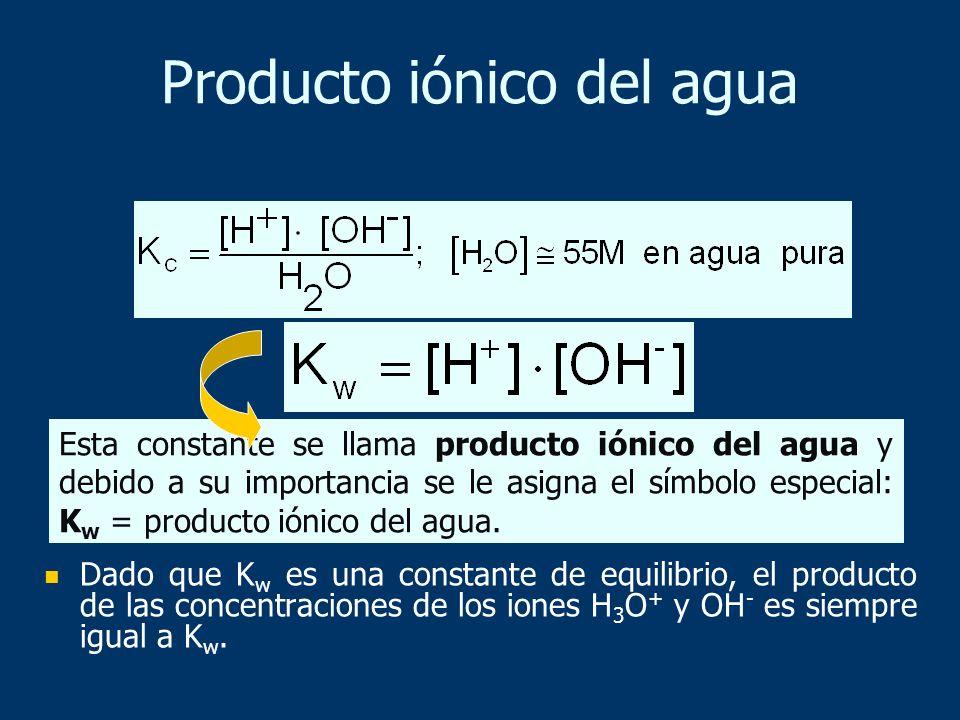 Dado que K w es una constante de equilibrio, el producto de las concentraciones de los iones H 3 O + y OH - es siempre igual a K w. Esta constante se