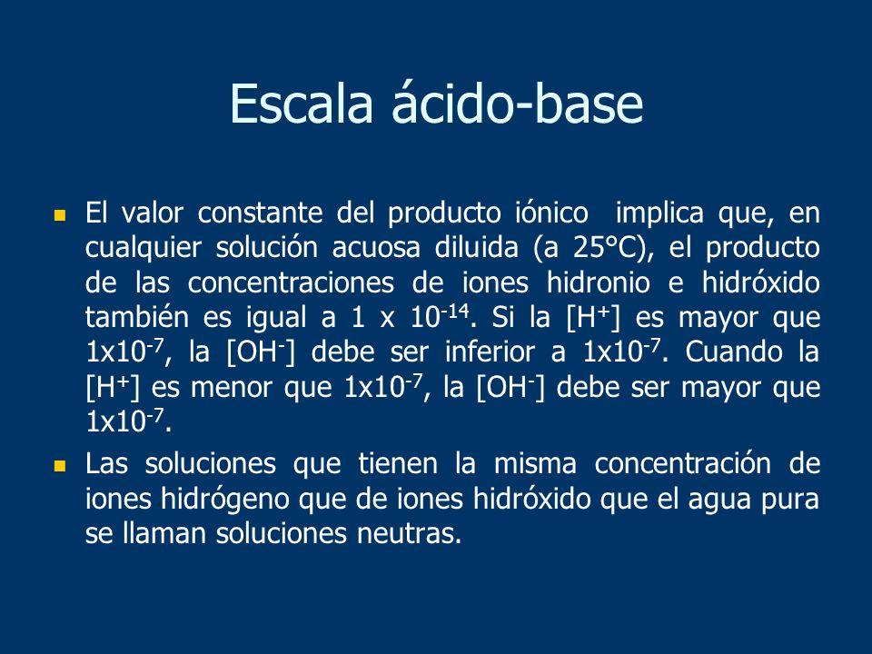 Escala ácido-base El valor constante del producto iónico implica que, en cualquier solución acuosa diluida (a 25°C), el producto de las concentracione