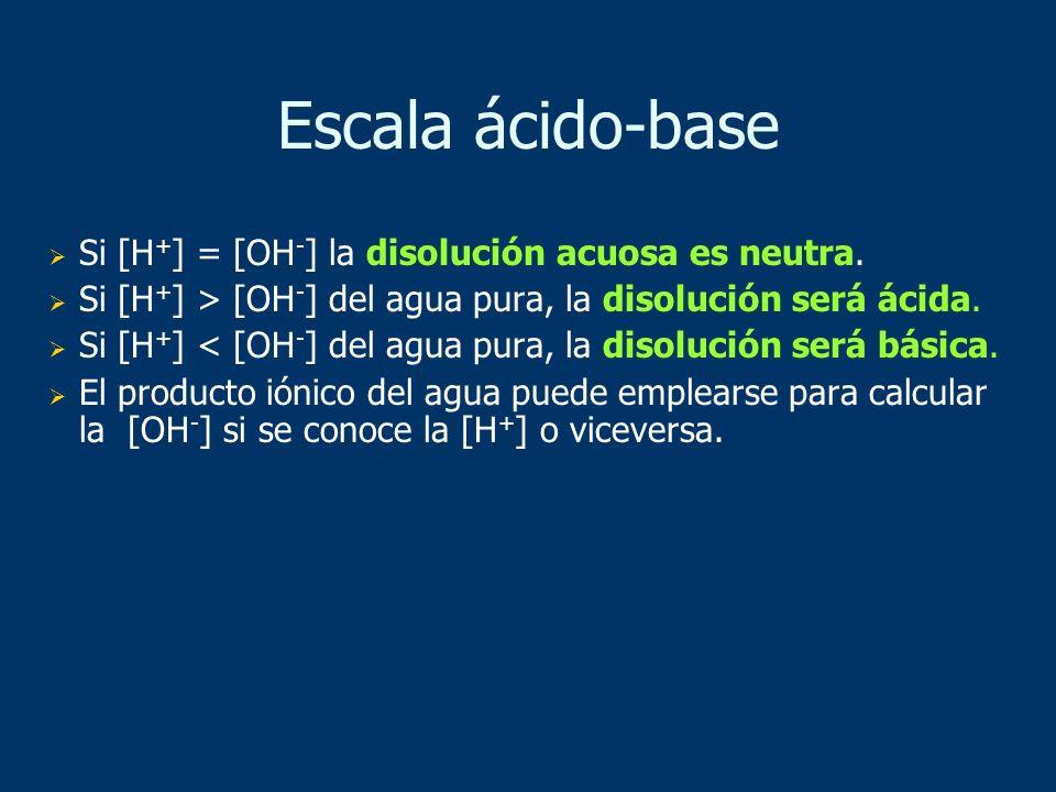 Si [H + ] = [OH - ] la disolución acuosa es neutra. Si [H + ] > [OH - ] del agua pura, la disolución será ácida. Si [H + ] < [OH - ] del agua pura, la