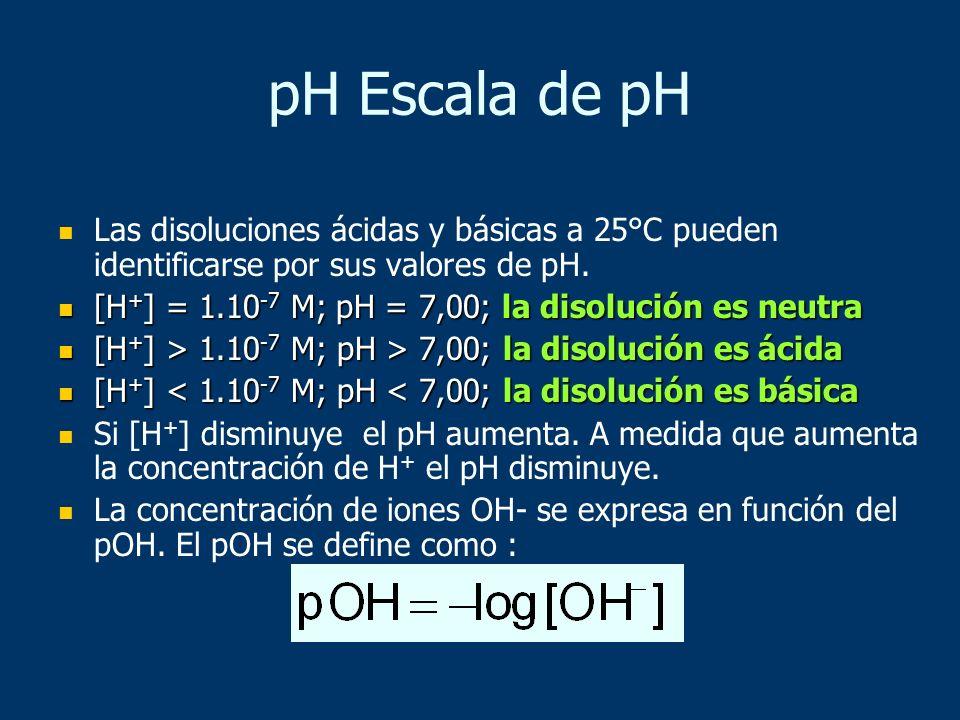 Las disoluciones ácidas y básicas a 25°C pueden identificarse por sus valores de pH. [H + ] = 1.10 -7 M; pH = 7,00; la disolución es neutra [H + ] = 1
