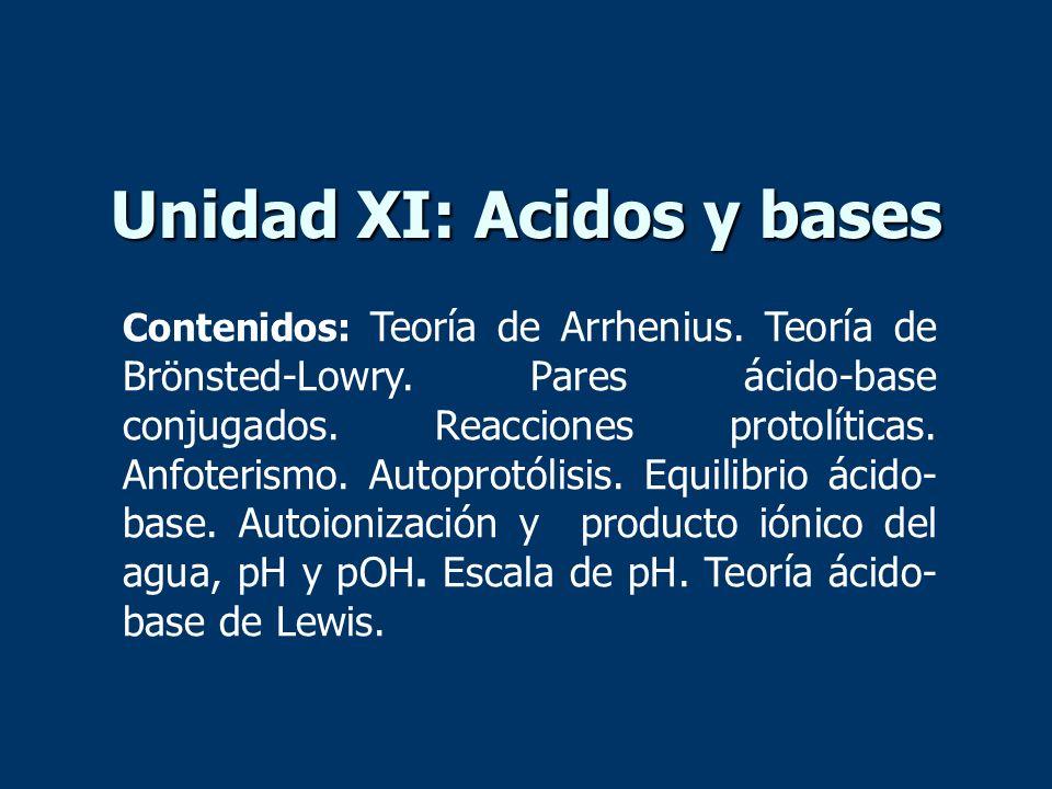 Unidad XI: Acidos y bases Contenidos: Teoría de Arrhenius. Teoría de Brönsted-Lowry. Pares ácido-base conjugados. Reacciones protolíticas. Anfoterismo