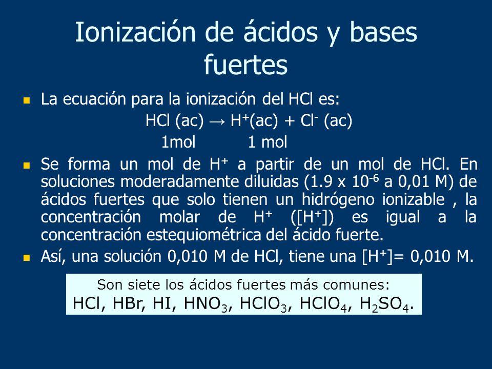Ionización de ácidos y bases fuertes La ecuación para la ionización del HCl es: HCl (ac) H + (ac) + Cl - (ac) 1mol 1 mol Se forma un mol de H + a part