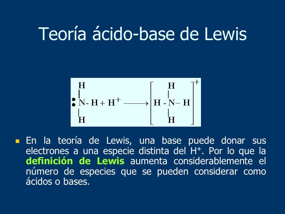 En la teoría de Lewis, una base puede donar sus electrones a una especie distinta del H +. Por lo que la definición de Lewis aumenta considerablemente