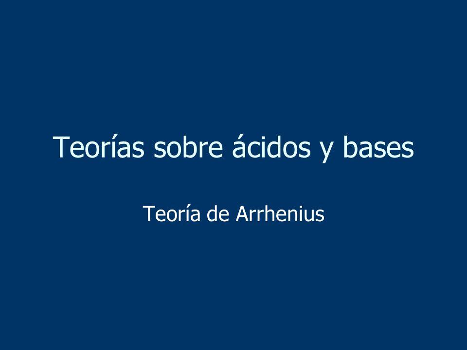 Teorías sobre ácidos y bases Teoría de Arrhenius