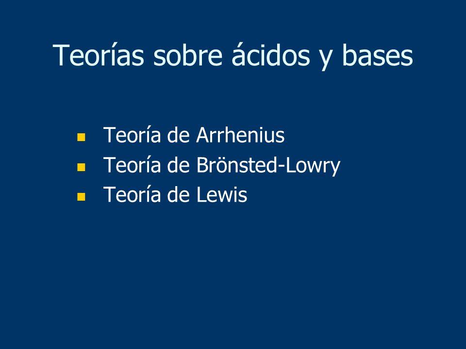 Teorías sobre ácidos y bases Teoría de Arrhenius Teoría de Brönsted-Lowry Teoría de Lewis