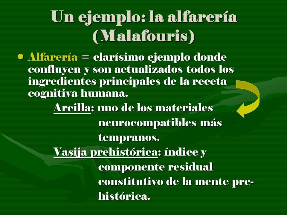 Un ejemplo: la alfarería (Malafouris) Alfarería = clarísimo ejemplo donde confluyen y son actualizados todos los ingredientes principales de la receta