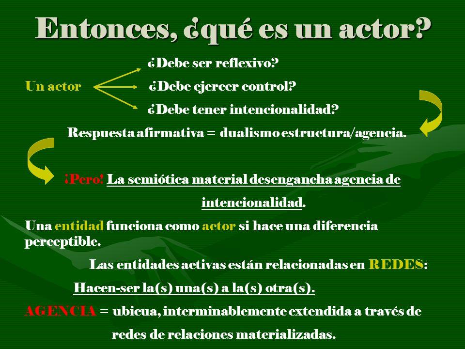 Entonces, ¿qué es un actor? ¿Debe ser reflexivo? Un actor ¿Debe ejercer control? ¿Debe tener intencionalidad? Respuesta afirmativa = dualismo estructu