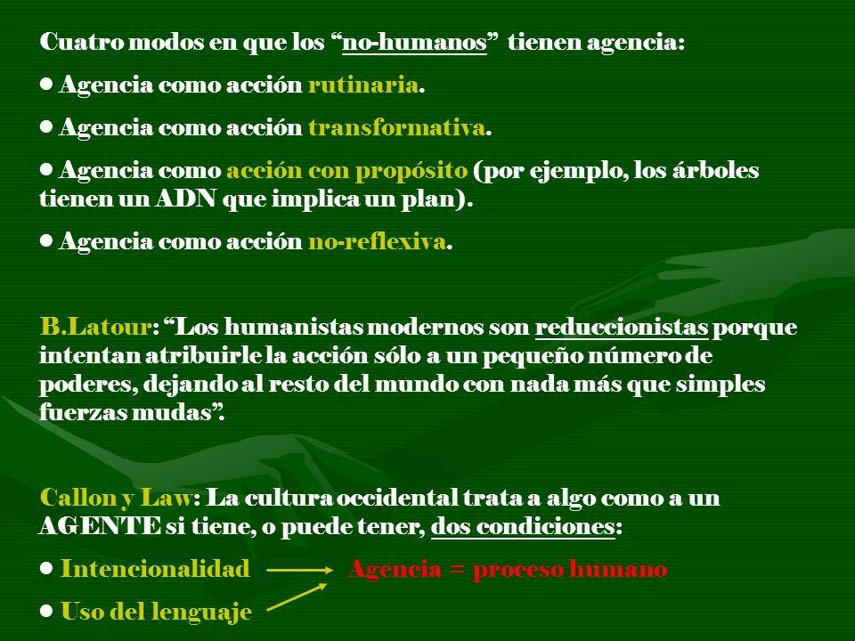 Cuatro modos en que los no-humanos tienen agencia: Agencia como acción rutinaria. Agencia como acción transformativa. Agencia como acción con propósit
