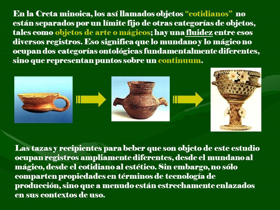 En la Creta minoica, los así llamados objetos cotidianos no están separados por un límite fijo de otras categorías de objetos, tales como objetos de a