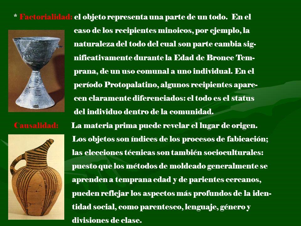 * Factorialidad: el objeto representa una parte de un todo. En el caso de los recipientes minoicos, por ejemplo, la naturaleza del todo del cual son p