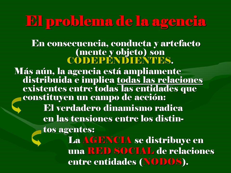 El problema de la agencia En consecuencia, conducta y artefacto (mente y objeto) son CODEPENDIENTES. Más aún, la agencia está ampliamente distribuida