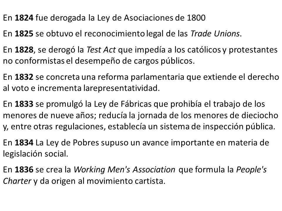 En 1824 fue derogada la Ley de Asociaciones de 1800 En 1825 se obtuvo el reconocimiento legal de las Trade Unions. En 1828, se derogó la Test Act que