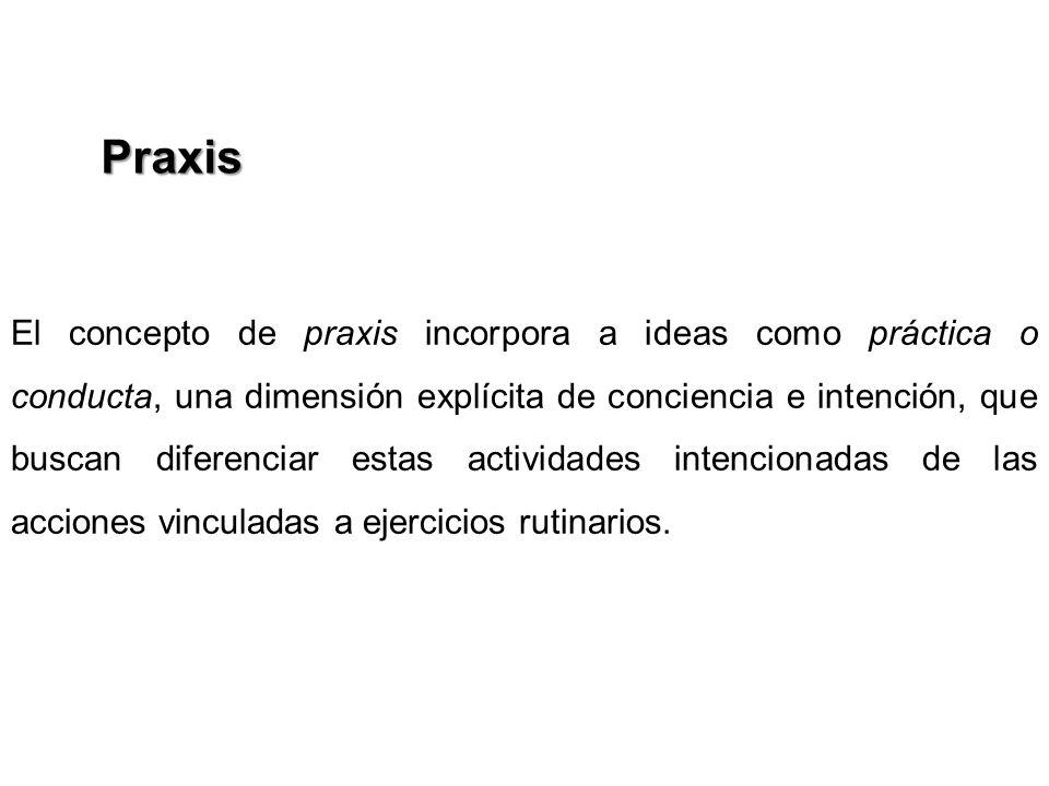 El concepto de praxis incorpora a ideas como práctica o conducta, una dimensión explícita de conciencia e intención, que buscan diferenciar estas acti