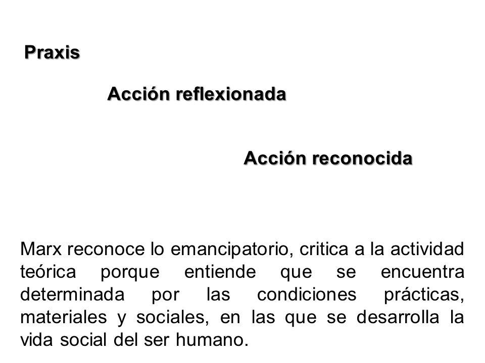 Praxis Acción reflexionada Acción reconocida Marx reconoce lo emancipatorio, critica a la actividad teórica porque entiende que se encuentra determina