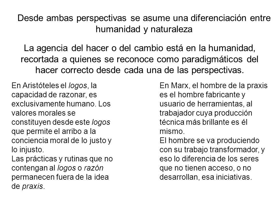 Desde ambas perspectivas se asume una diferenciación entre humanidad y naturaleza La agencia del hacer o del cambio está en la humanidad, recortada a