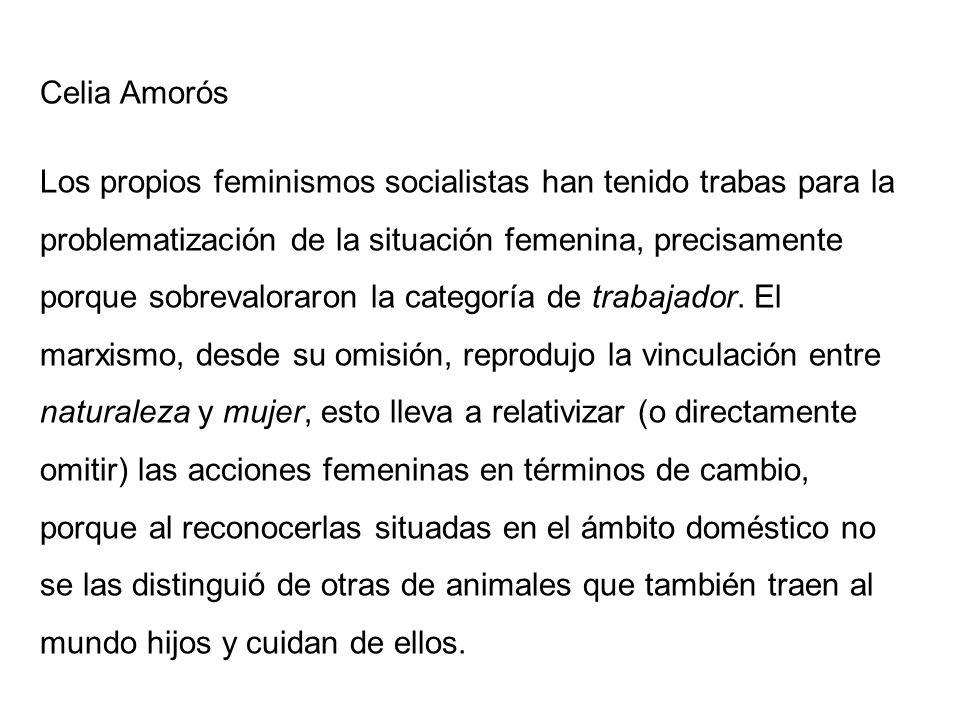 Celia Amorós Los propios feminismos socialistas han tenido trabas para la problematización de la situación femenina, precisamente porque sobrevaloraro