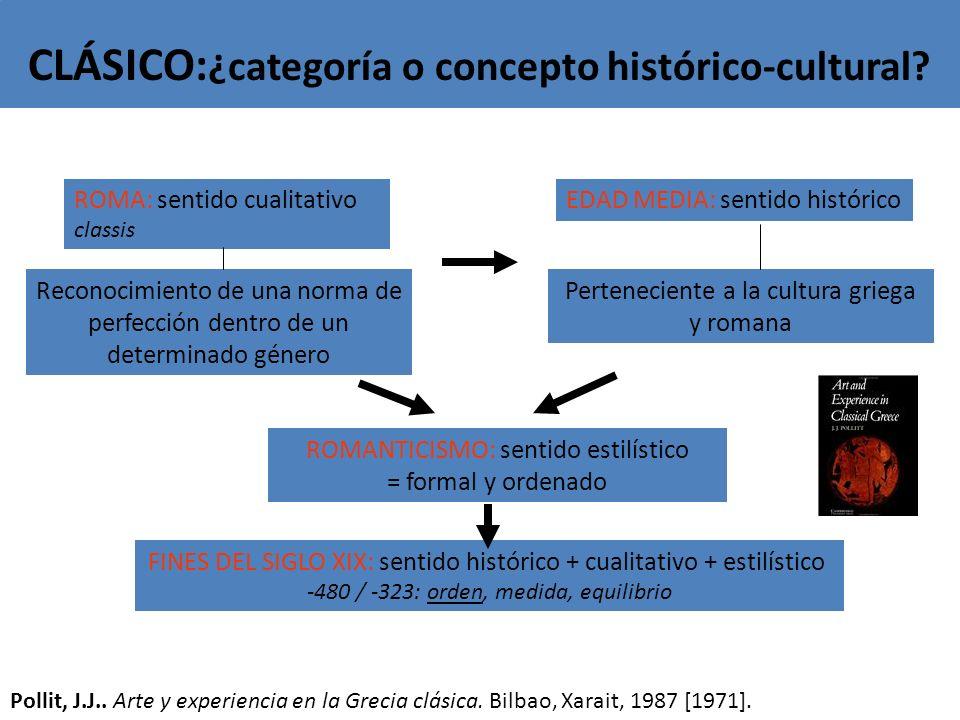 CLÁSICO: ¿categoría o concepto histórico-cultural? ROMANTICISMO: sentido estilístico = formal y ordenado ROMA: sentido cualitativo classis EDAD MEDIA: