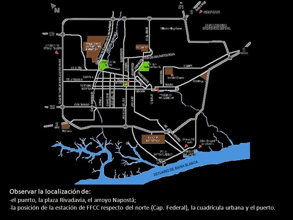Observar la localización de: -el puerto, la plaza Rivadavia, el arroyo Napostá; -la posición de la estación de FFCC respecto del norte (Cap. Federal),