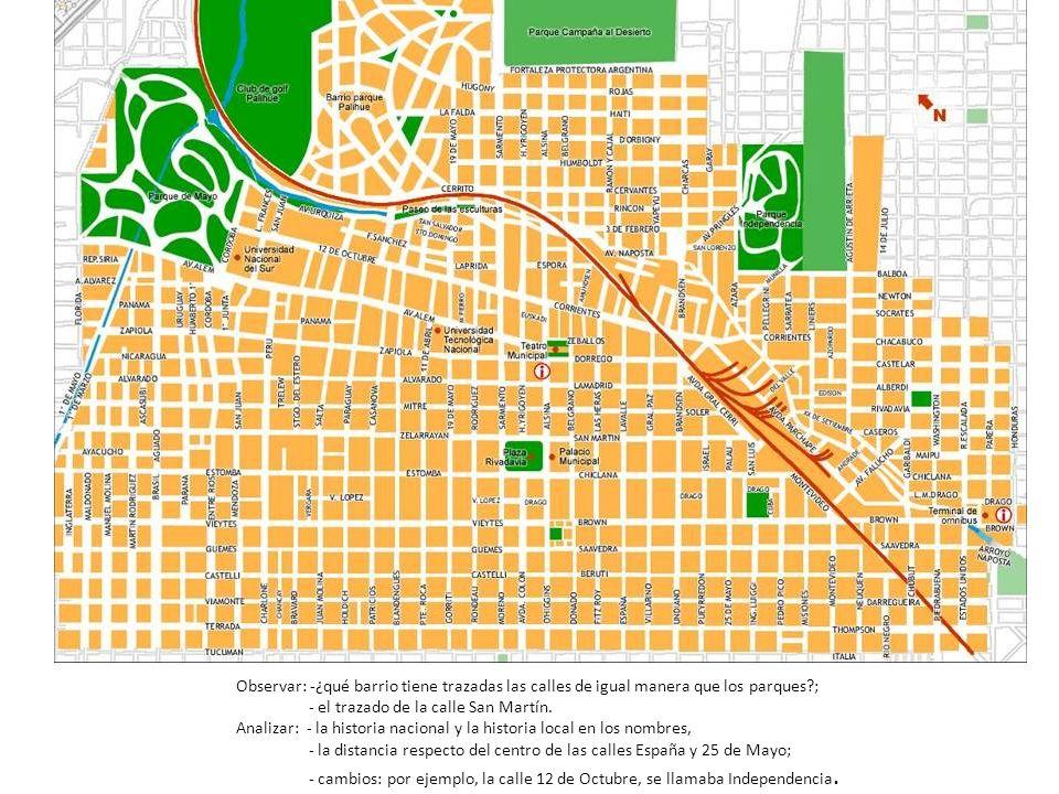 Observar: -¿qué barrio tiene trazadas las calles de igual manera que los parques?; - el trazado de la calle San Martín. Analizar: - la historia nacion