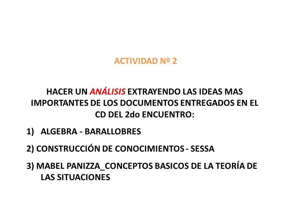 ACTIVIDAD Nº 2 HACER UN ANÁLISIS EXTRAYENDO LAS IDEAS MAS IMPORTANTES DE LOS DOCUMENTOS ENTREGADOS EN EL CD DEL 2do ENCUENTRO: 1)ALGEBRA - BARALLOBRES 2) CONSTRUCCIÓN DE CONOCIMIENTOS - SESSA 3) MABEL PANIZZA_CONCEPTOS BASICOS DE LA TEORÍA DE LAS SITUACIONES