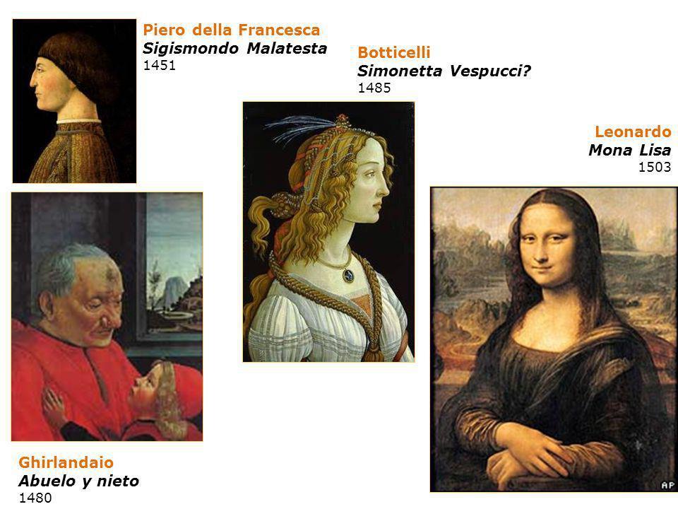 Piero della Francesca Sigismondo Malatesta 1451 Botticelli Simonetta Vespucci? 1485 Leonardo Mona Lisa 1503 Ghirlandaio Abuelo y nieto 1480