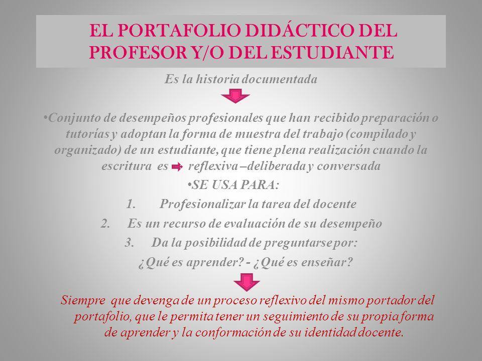 EL PORTAFOLIO DIDÁCTICO DEL PROFESOR Y/O DEL ESTUDIANTE Es la historia documentada Conjunto de desempeños profesionales que han recibido preparación o