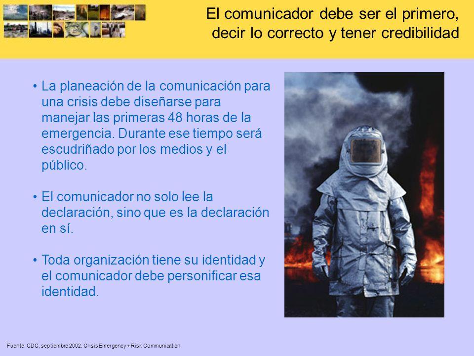 El comunicador debe ser el primero, decir lo correcto y tener credibilidad Fuente: CDC, septiembre 2002. Crisis Emergency + Risk Communication La plan
