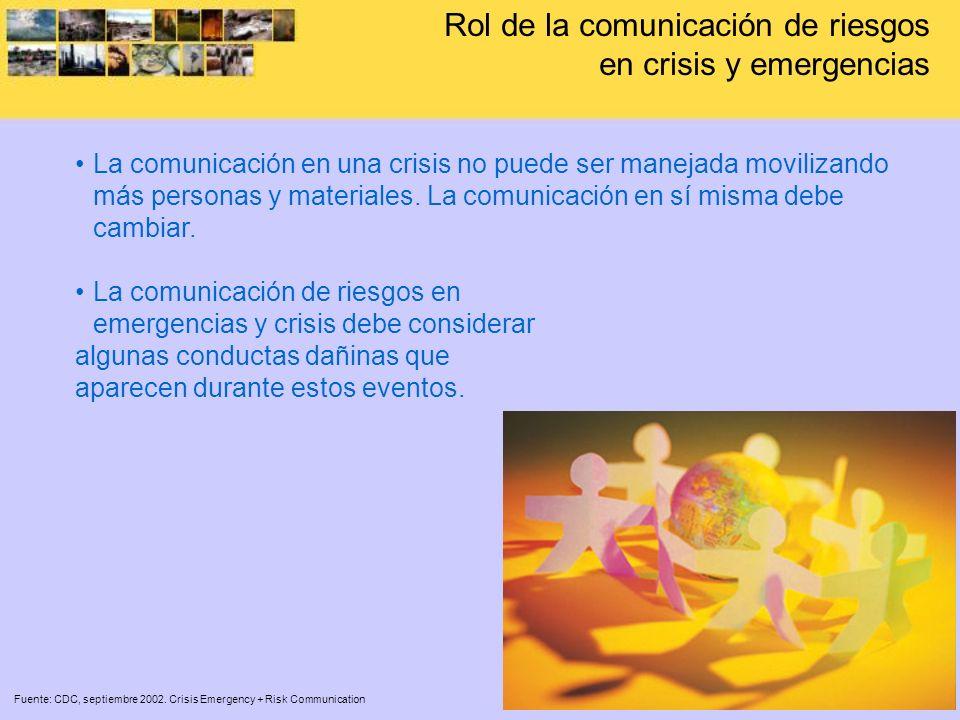 La comunicación en una crisis no puede ser manejada movilizando más personas y materiales. La comunicación en sí misma debe cambiar. La comunicación d