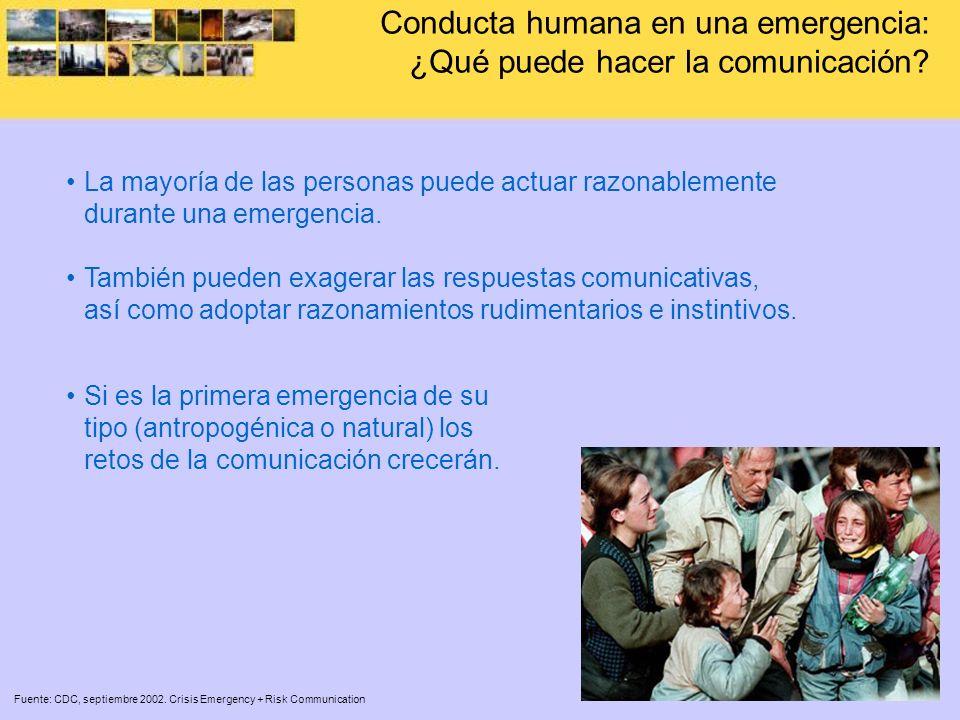 La mayoría de las personas puede actuar razonablemente durante una emergencia. También pueden exagerar las respuestas comunicativas, así como adoptar