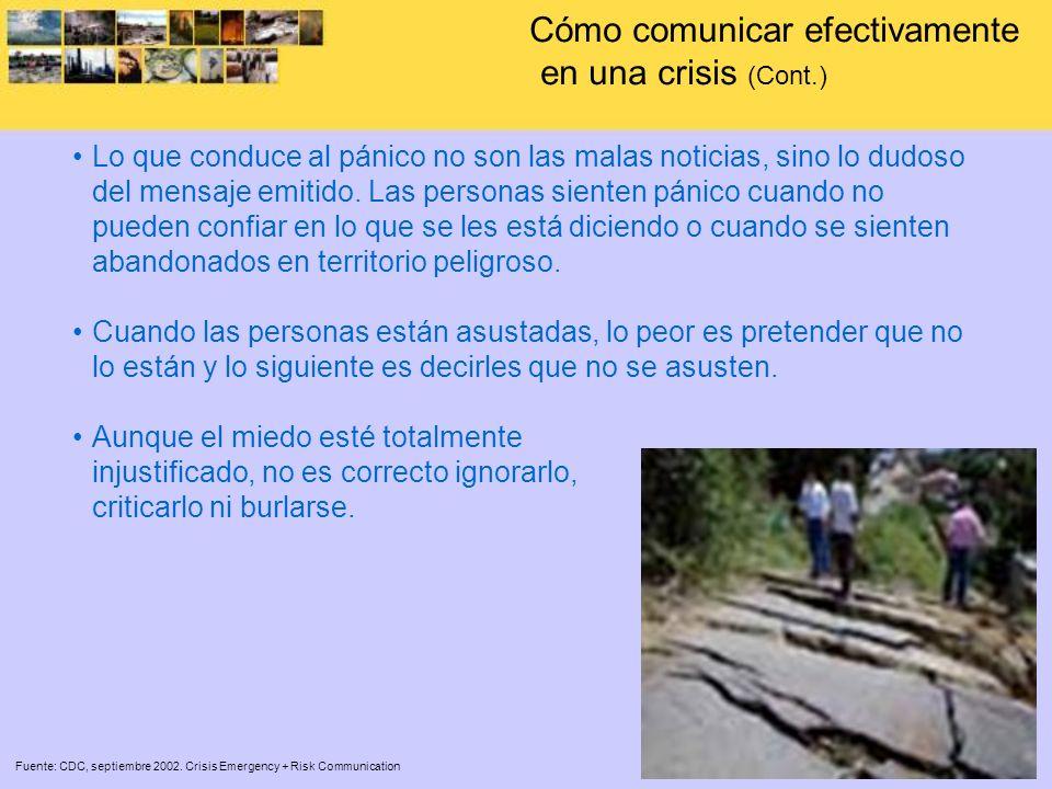 Trabaje con los medios de comunicación Fuente: CDC, septiembre 2002.
