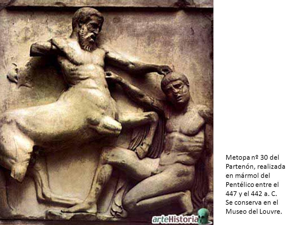 Metopa nº 30 del Partenón, realizada en mármol del Pentélico entre el 447 y el 442 a. C. Se conserva en el Museo del Louvre.
