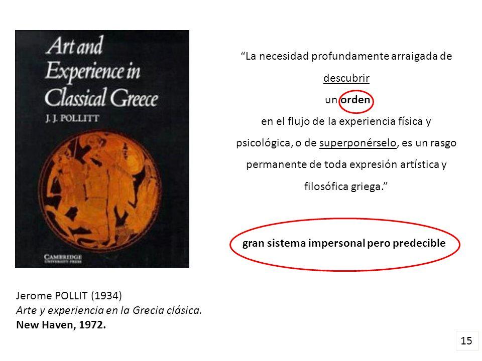 Jerome POLLIT (1934) Arte y experiencia en la Grecia clásica. New Haven, 1972. La necesidad profundamente arraigada de descubrir un orden en el flujo