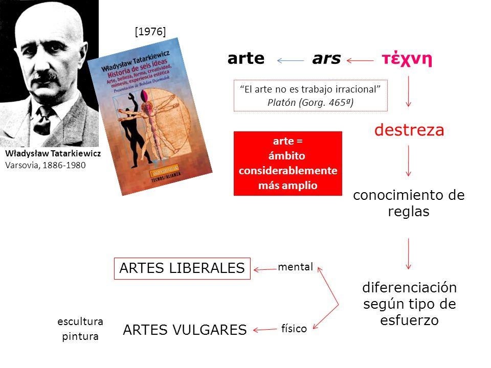 Władysław Tatarkiewicz Varsovia, 1886-1980 [1976] arsτέχνηarte destreza conocimiento de reglas El arte no es trabajo irracional Platón (Gorg. 465ª) di