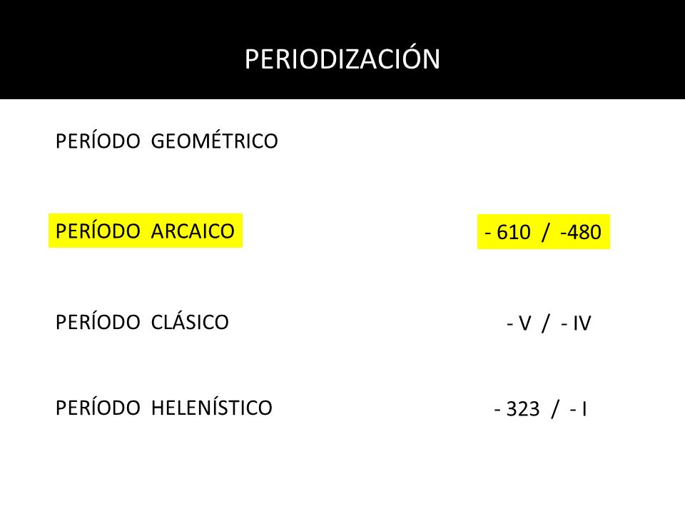 PERIODIZACIÓN PERÍODO GEOMÉTRICO PERÍODO ARCAICO PERÍODO CLÁSICO PERÍODO HELENÍSTICO - 610 / -480 - V / - IV - 323 / - I