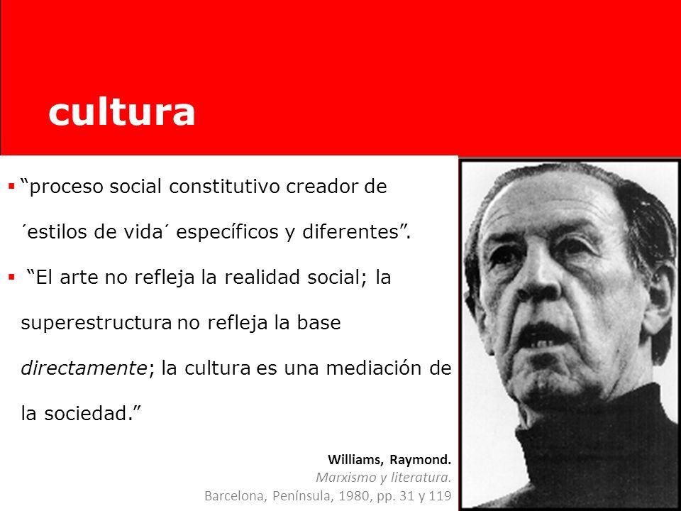 Williams, Raymond. Marxismo y literatura. Barcelona, Península, 1980, Cap. 1. cultura Limitaciones de la Historia Cultural marxista: Reducción de la c