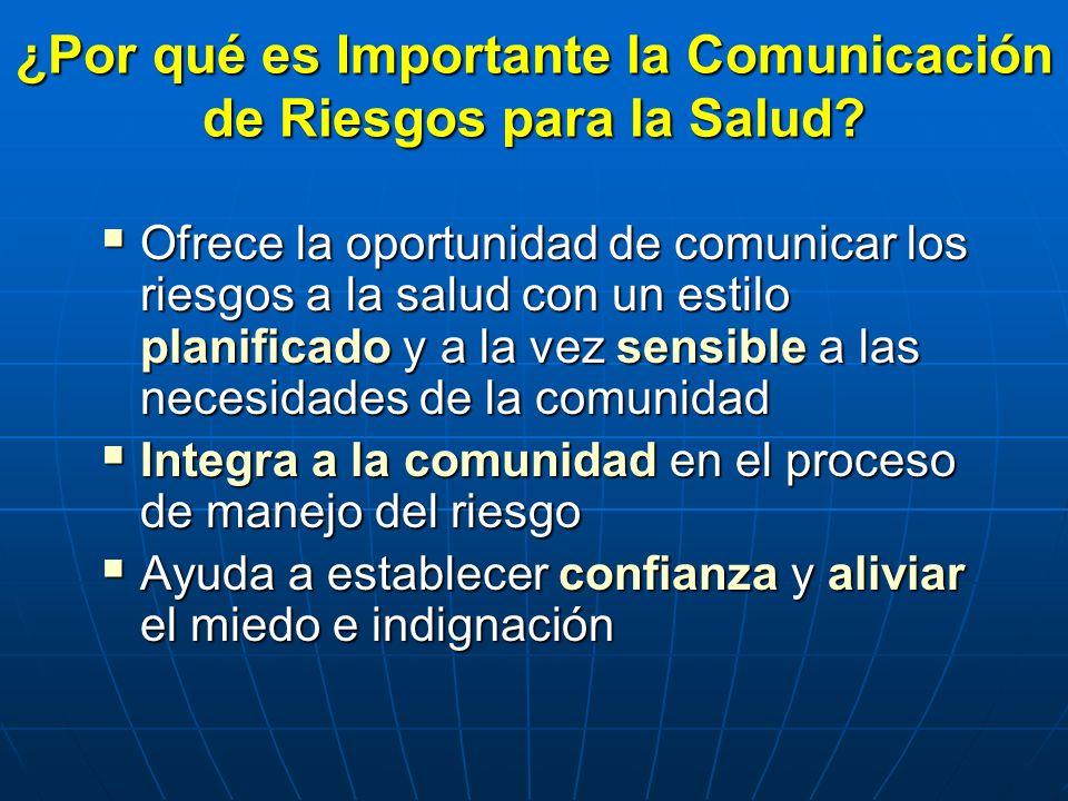 ¿Por qué es Importante la Comunicación de Riesgos para la Salud? Ofrece la oportunidad de comunicar los riesgos a la salud con un estilo planificado y