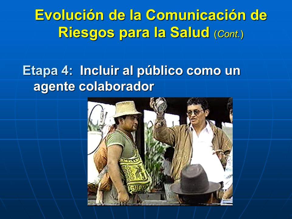 Evolución de la Comunicación de Riesgos para la Salud (Cont.) Etapa 4: Incluir al público como un agente colaborador