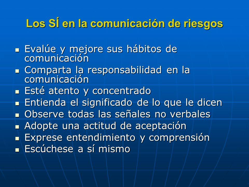 Los SÍ en la comunicación de riesgos Evalúe y mejore sus hábitos de comunicación Evalúe y mejore sus hábitos de comunicación Comparta la responsabilid