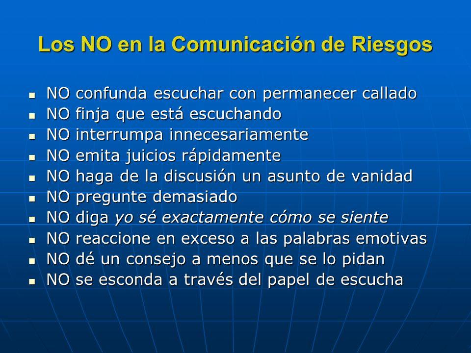 Los NO en la Comunicación de Riesgos NO confunda escuchar con permanecer callado NO confunda escuchar con permanecer callado NO finja que está escucha