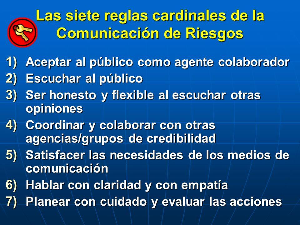 Las siete reglas cardinales de la Comunicación de Riesgos 1) Aceptar al público como agente colaborador 2) Escuchar al público 3) Ser honesto y flexib