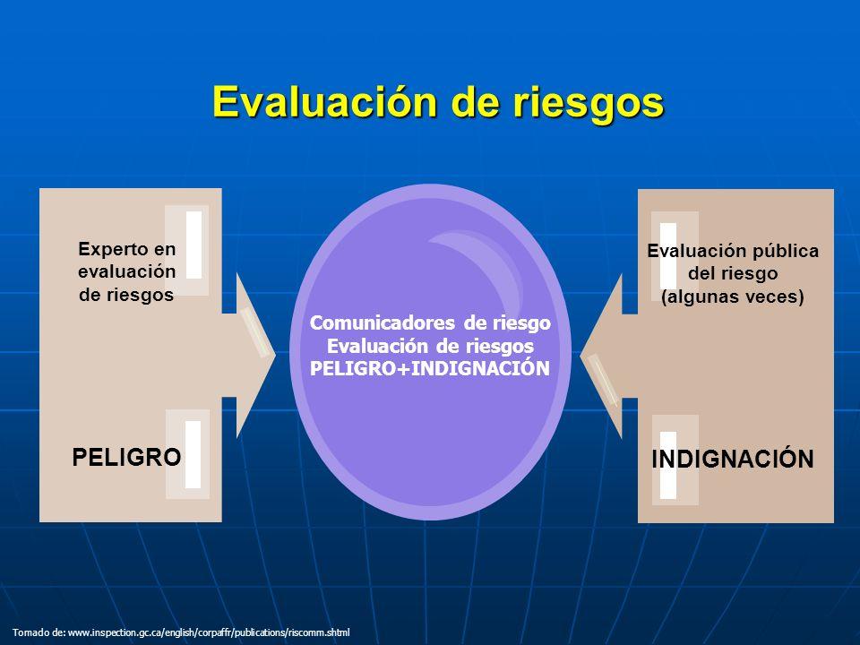 Evaluación de riesgos Comunicadores de riesgo Evaluación de riesgos PELIGRO+INDIGNACIÓN Experto en evaluación de riesgos PELIGRO Evaluación pública de