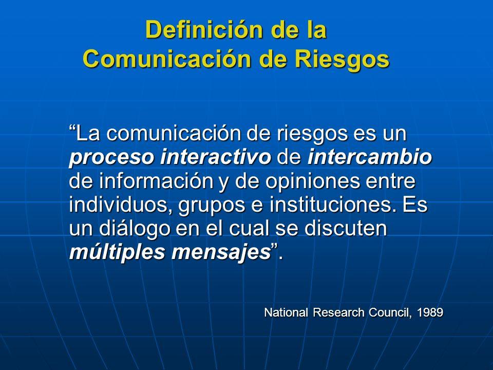 Estos mensajes no se refieren solamente a la naturaleza del riesgo sino también a las preocupaciones, opiniones o reacciones de las personas hacia el riesgo y hacia los aspectos legales/administrativos del manejo del riesgo.