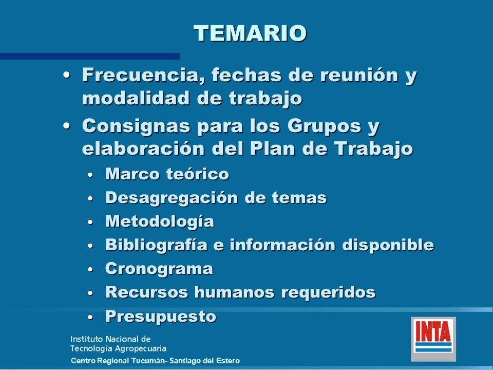 Centro Regional Tucumán- Santiago del Estero TEMARIO Frecuencia, fechas de reunión y modalidad de trabajoFrecuencia, fechas de reunión y modalidad de