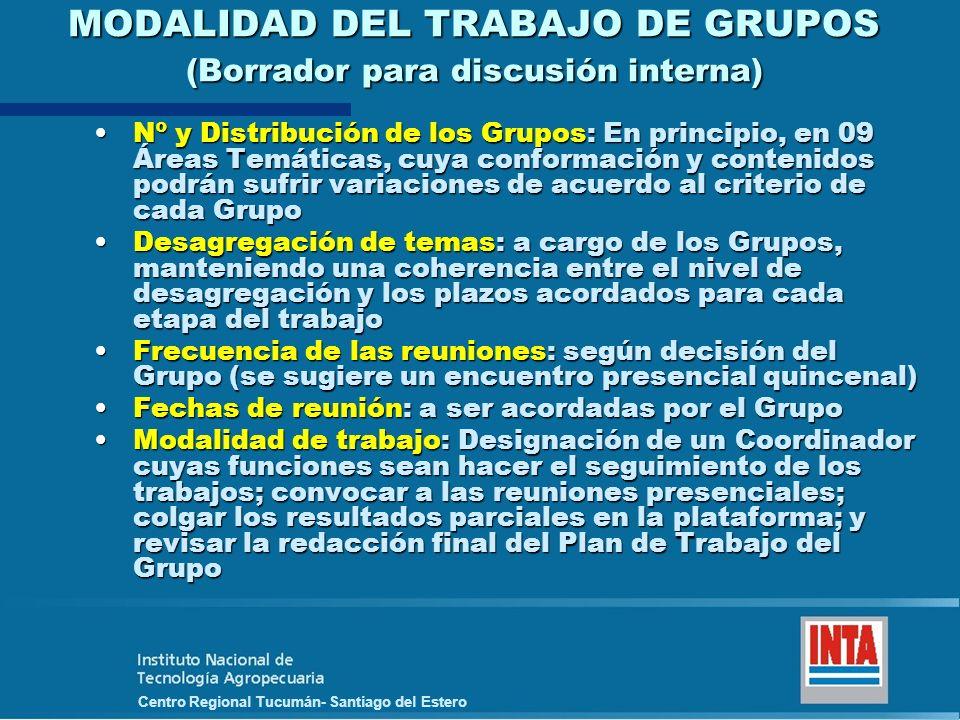 Centro Regional Tucumán- Santiago del Estero MODALIDAD DEL TRABAJO DE GRUPOS (Borrador para discusión interna) Nº y Distribución de los Grupos: En pri