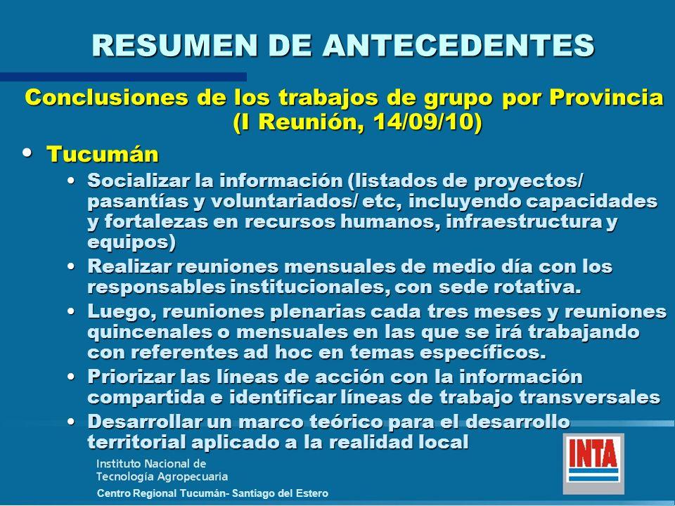 Centro Regional Tucumán- Santiago del Estero RESUMEN DE ANTECEDENTES Conclusiones de los trabajos de grupo por Provincia (I Reunión, 14/09/10) Tucumán
