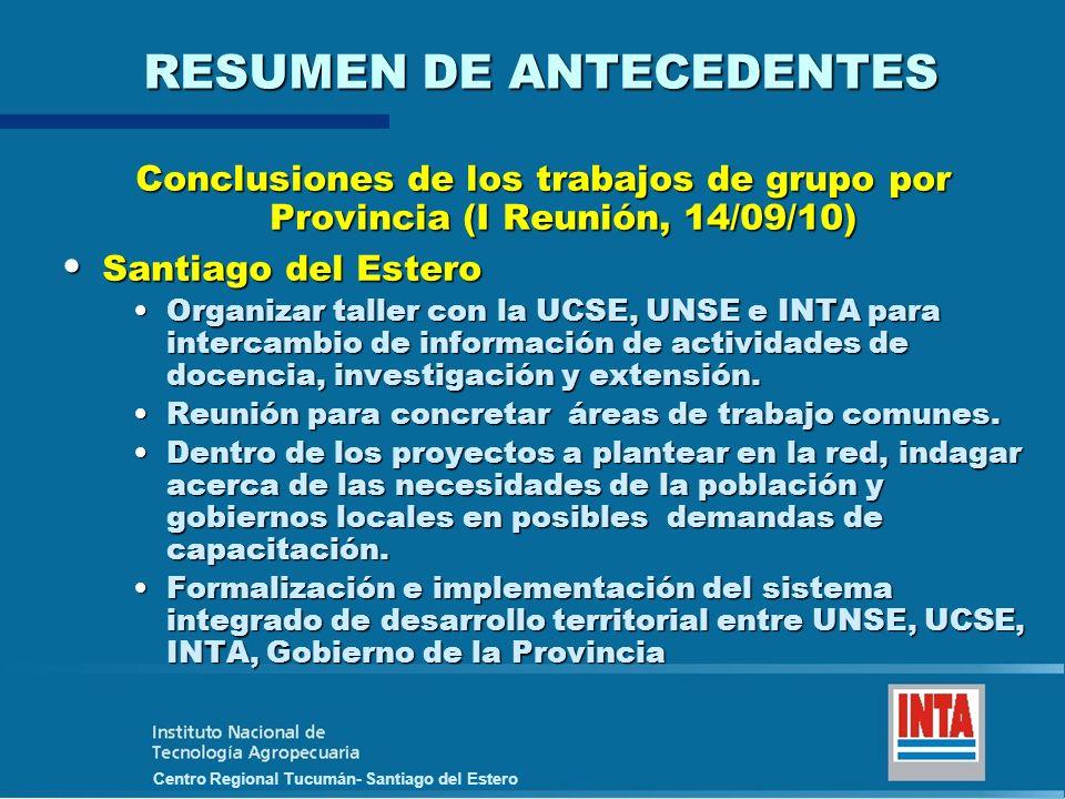 Centro Regional Tucumán- Santiago del Estero RESUMEN DE ANTECEDENTES Conclusiones de los trabajos de grupo por Provincia (I Reunión, 14/09/10) Santiag