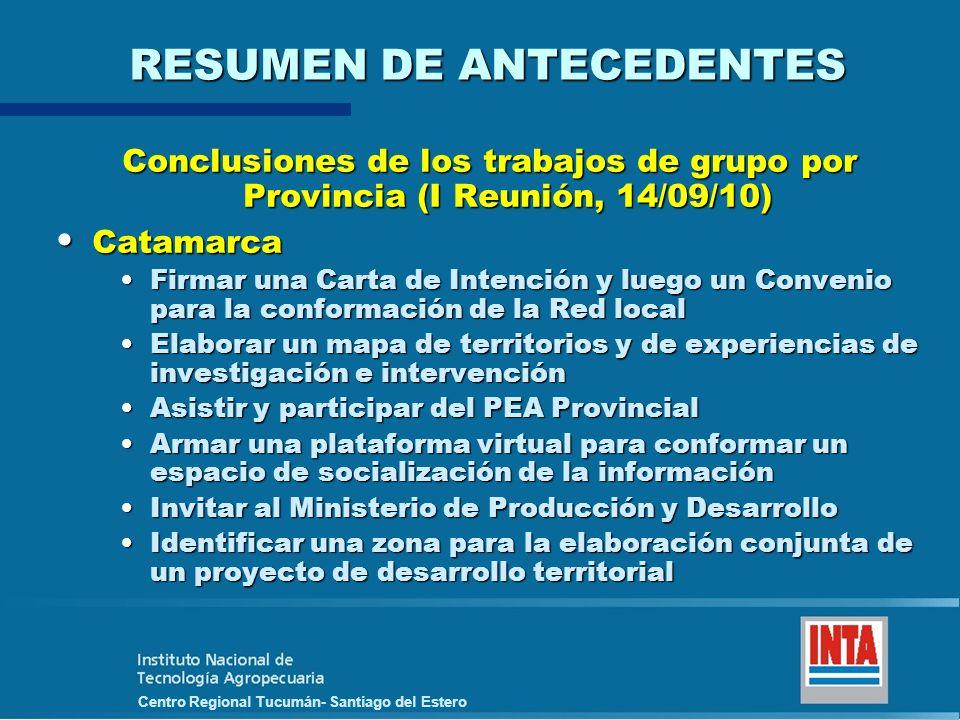 Centro Regional Tucumán- Santiago del Estero RESUMEN DE ANTECEDENTES Conclusiones de los trabajos de grupo por Provincia (I Reunión, 14/09/10) Catamar